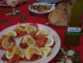 Extra Virgin Olive Oil with smoked salmon